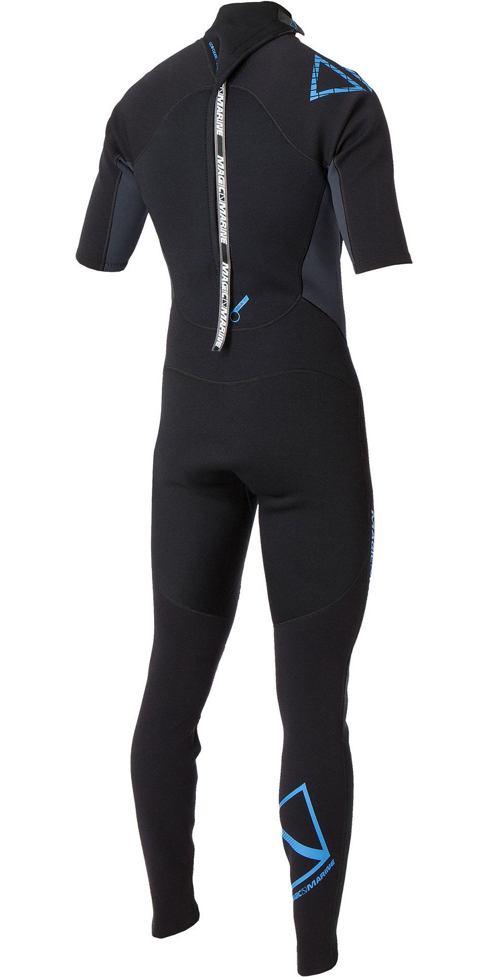 2020 Magic Marine Junior Brand 3/2mm Short Arm Back Zip Wetsuit Black / Blue 160020