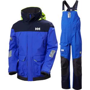 2021 Helly Hansen Mens Pier Sailing Jacket & Trouser Combi Set - Royal Blue