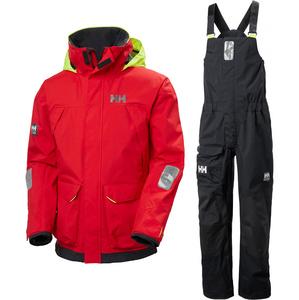 2021 Helly Hansen Mens Pier Sailing Jacket & Trouser Combi Set - Alert Red / Ebony