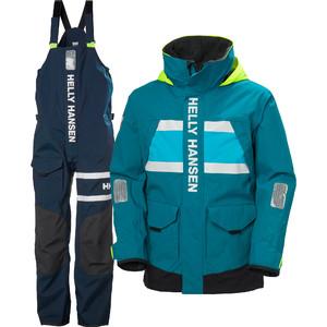 2021 Helly Hansen Mens Salt Coastal Jacket & Trouser Combi Set - Teal / Navy