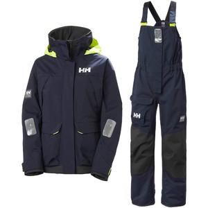 2021 Helly Hansen Womens Pier Coastal Sailing Jacket & Trouser Combi Set - Navy