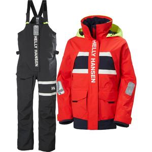 2021 Helly Hansen Womens Salt Coastal Jacket & Trouser Combi Set - Alert Red / Ebony