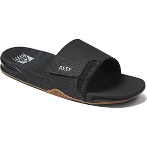2021 Reef Fanning Slide Flip Flops CI3632 - Black / Silver