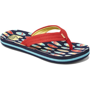 2020 Reef Junior Ahi Flip Flops / Sandals RF0A3VBL - Red Surfer