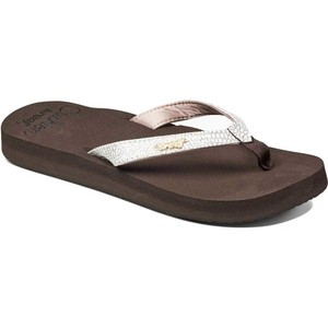 2019 Reef Womens Star Cushion Sassy Sandals / Flip Flops Brown / White RF001384