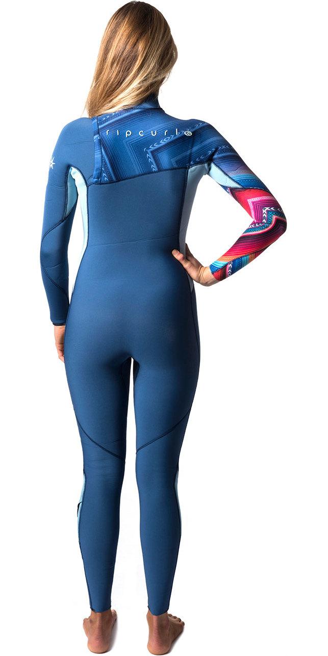 Rip Curl Womens G-Bomb 4/3mm GBS Zip-free Wetsuit BLUE WSM6IG