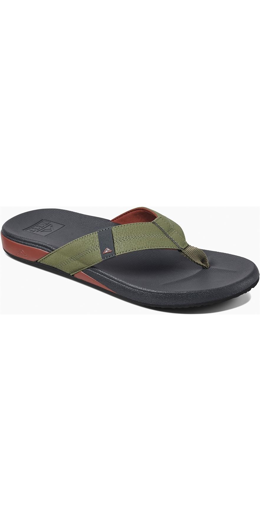 24732ca1596 Reef Mens Cushion Bounce Phantom Flip Flops Olive/Red RF0A3FDI | Footwear |  Wetsuitoutlet | Wetsuit Outlet