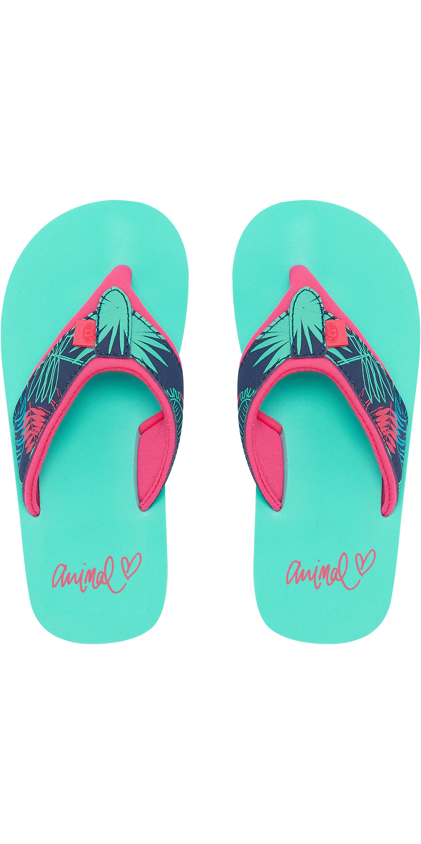 2019 Animal Junior Girls Swish Upper AOP Flip Flops Turquoise FM9SQ801
