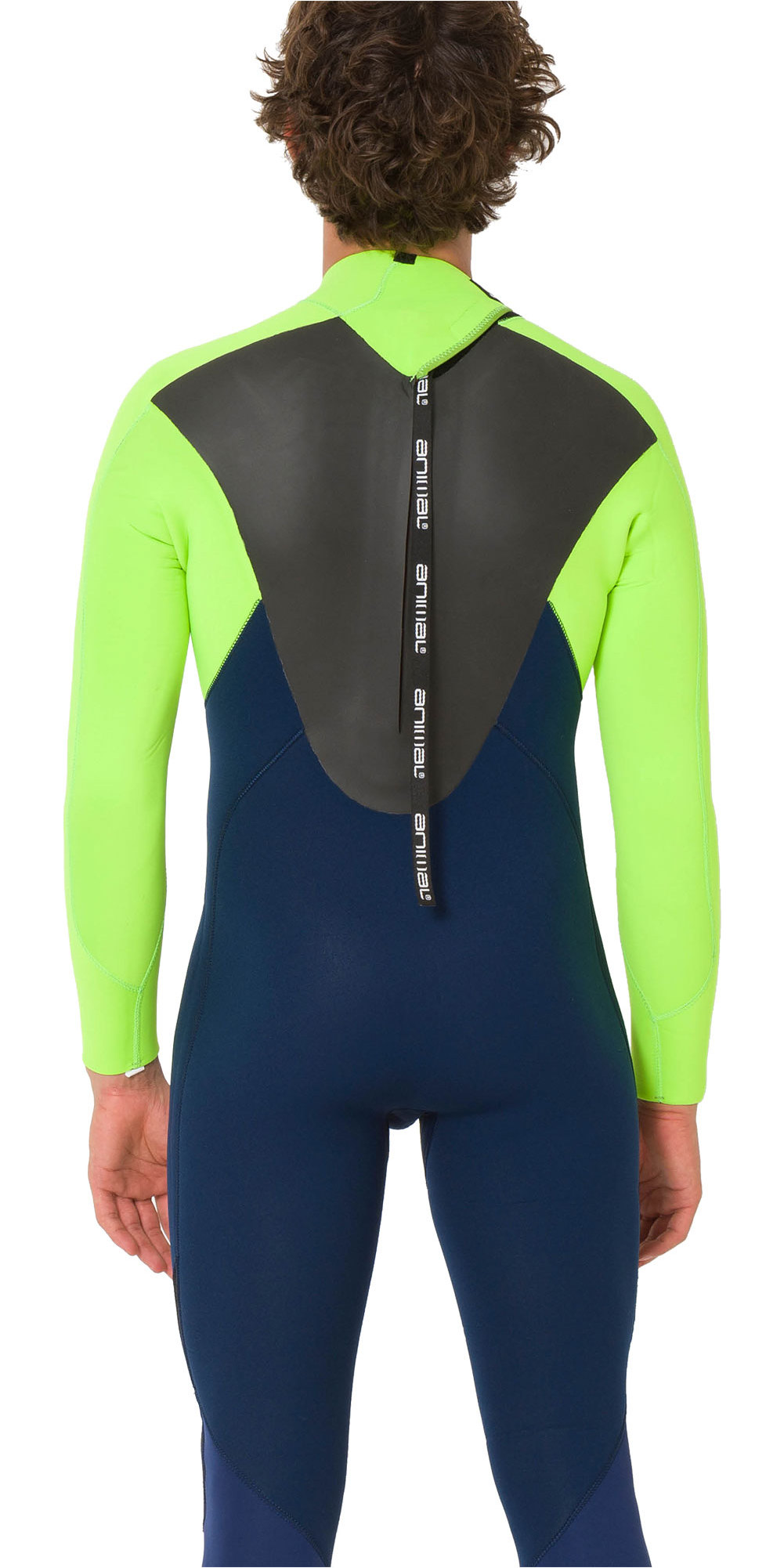 2019 Animal Mens Lava 5/4/3mm Back Zip GBS Wetsuit Navy / Lime AW9WQ006