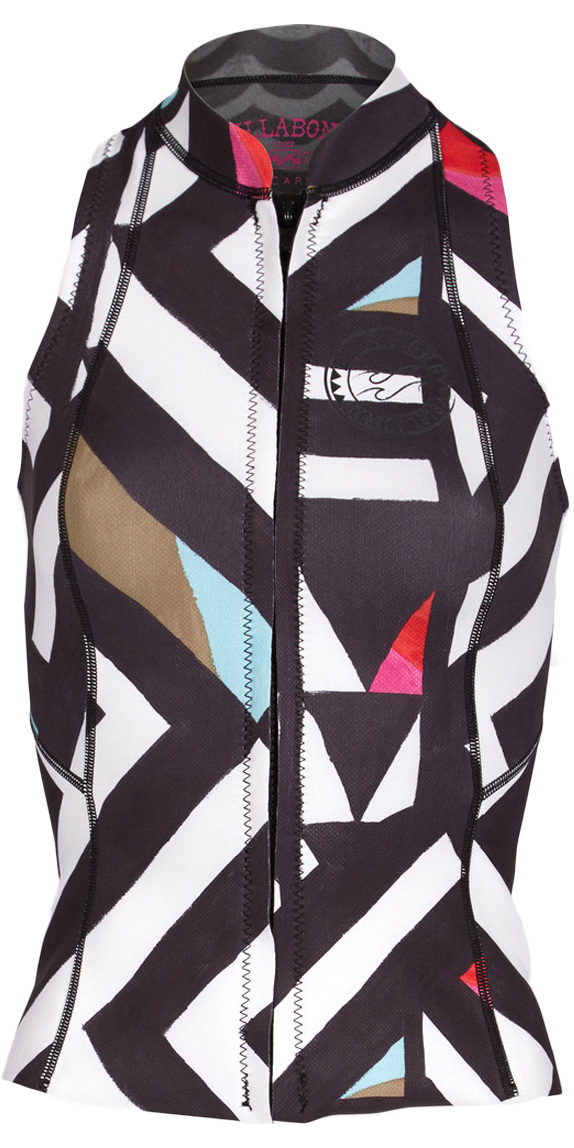 2018 Billabong Salty Daze 1mm Chest Zip Neoprene Vest Black / White F41G01