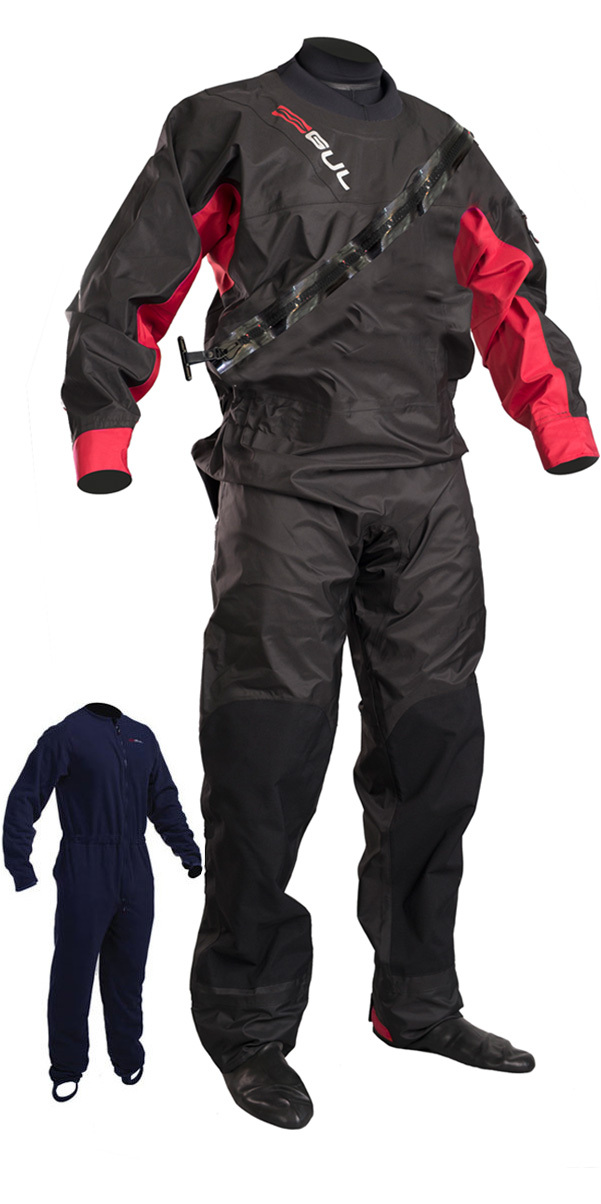 2019 GUL Dartmouth Eclip Zip Drysuit BLACK / RED GM0378-B5 WITH FREE UNDERSUIT