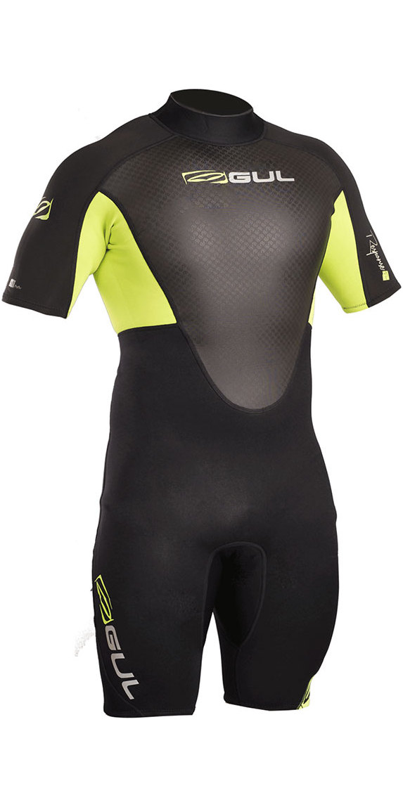 2019 Gul Response 3/2mm Back Zip Shorty Wetsuit Black / Lime RE3319-B4