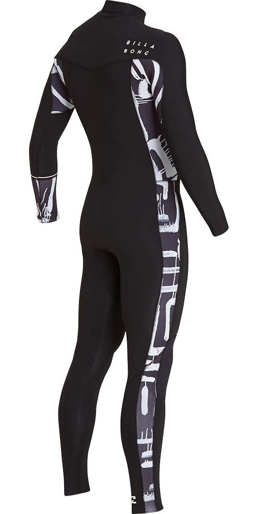 2019 Billabong Furnace Revolution 4/3mm Chest Zip Wetsuit Black Print L44M06