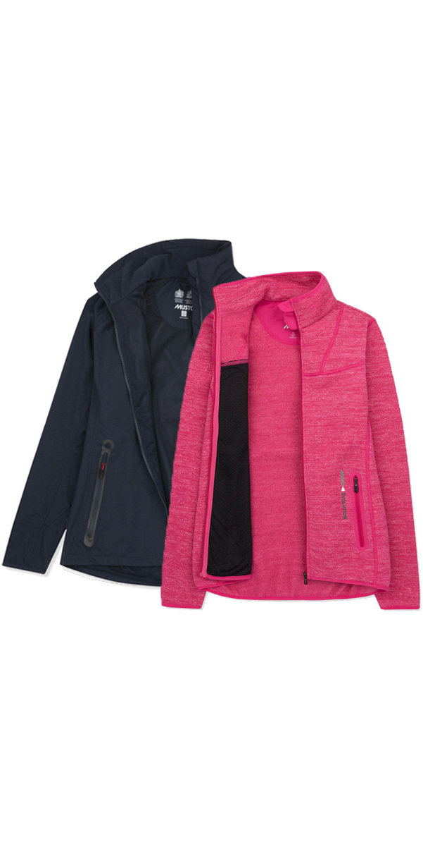 Musto Womens Essential Crew BR1 Jacket NAVY EWJK058 & Apexia Jacket CERISE Bundle Offer