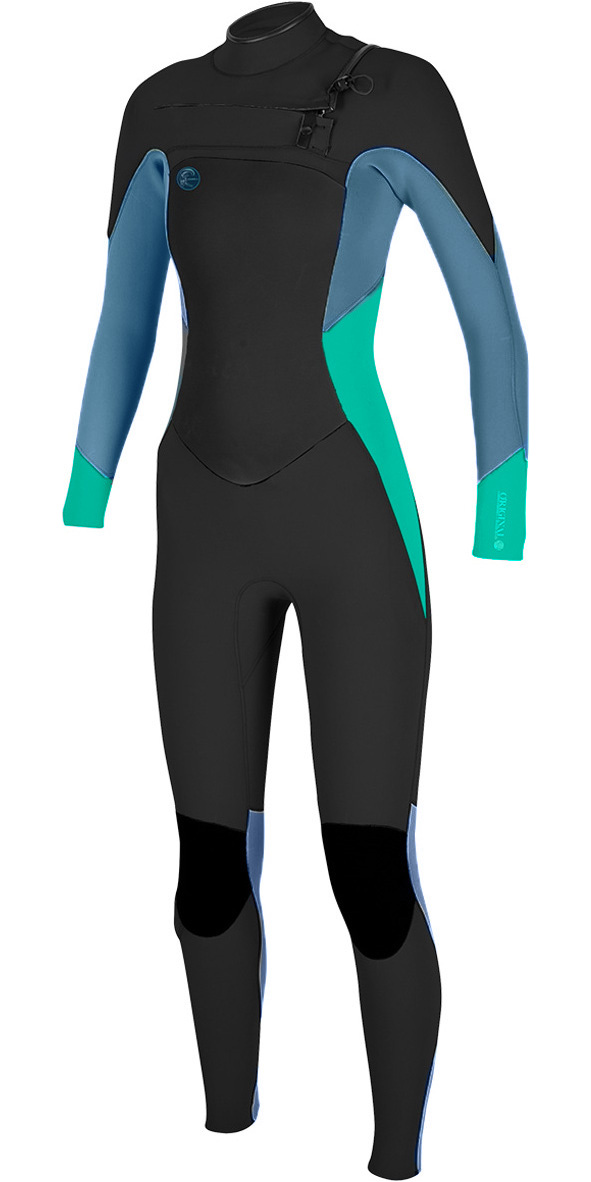 2018 O'Neill Ladies O'Riginal 5/4mm Chest Zip Wetsuit BLACK / SEAGLASS / BLUE 4997