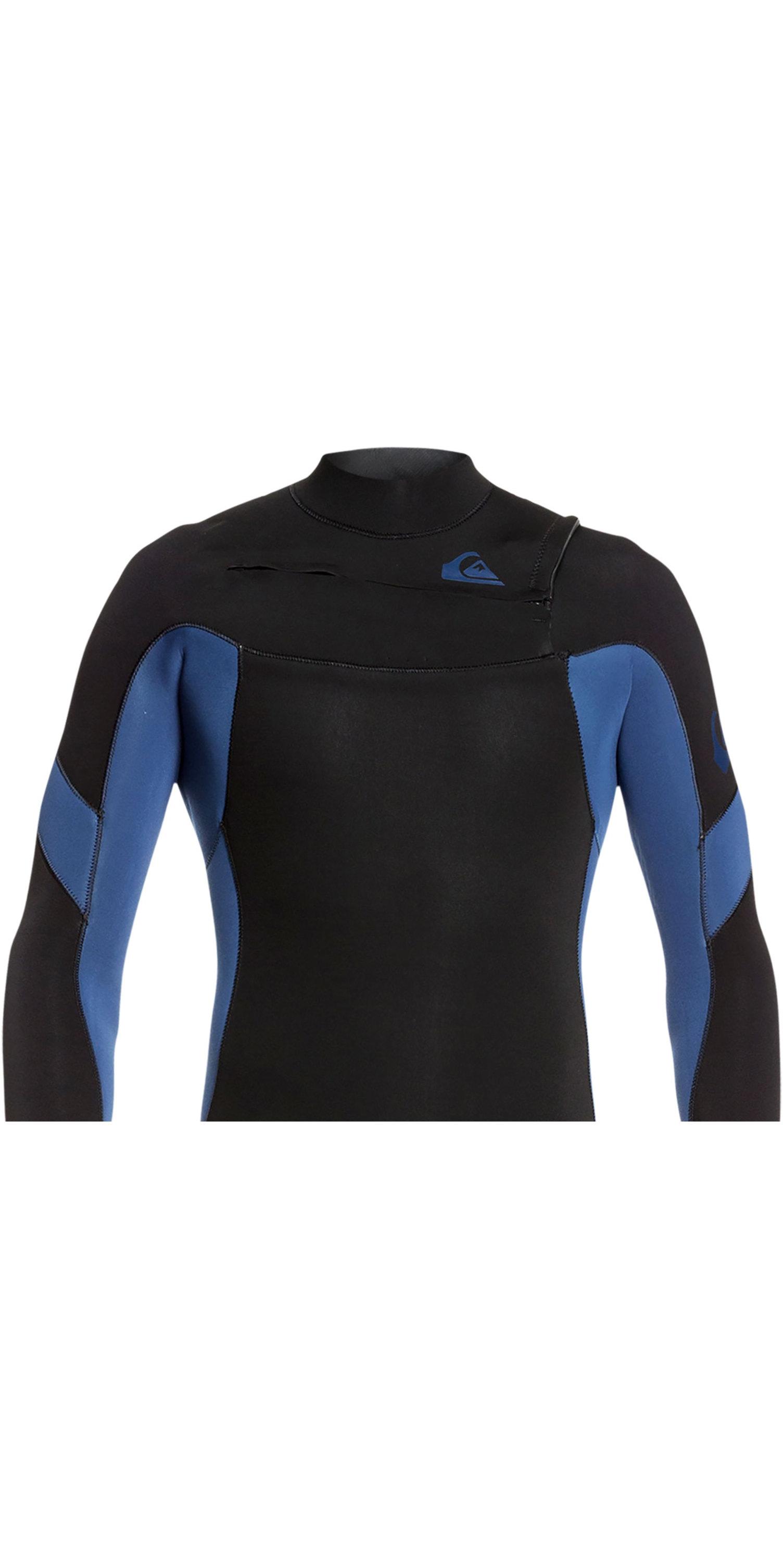 2019 Quiksilver Mens Syncro 4/3mm Chest Zip Wetsuit Black / Iodine Blue EQYW103087