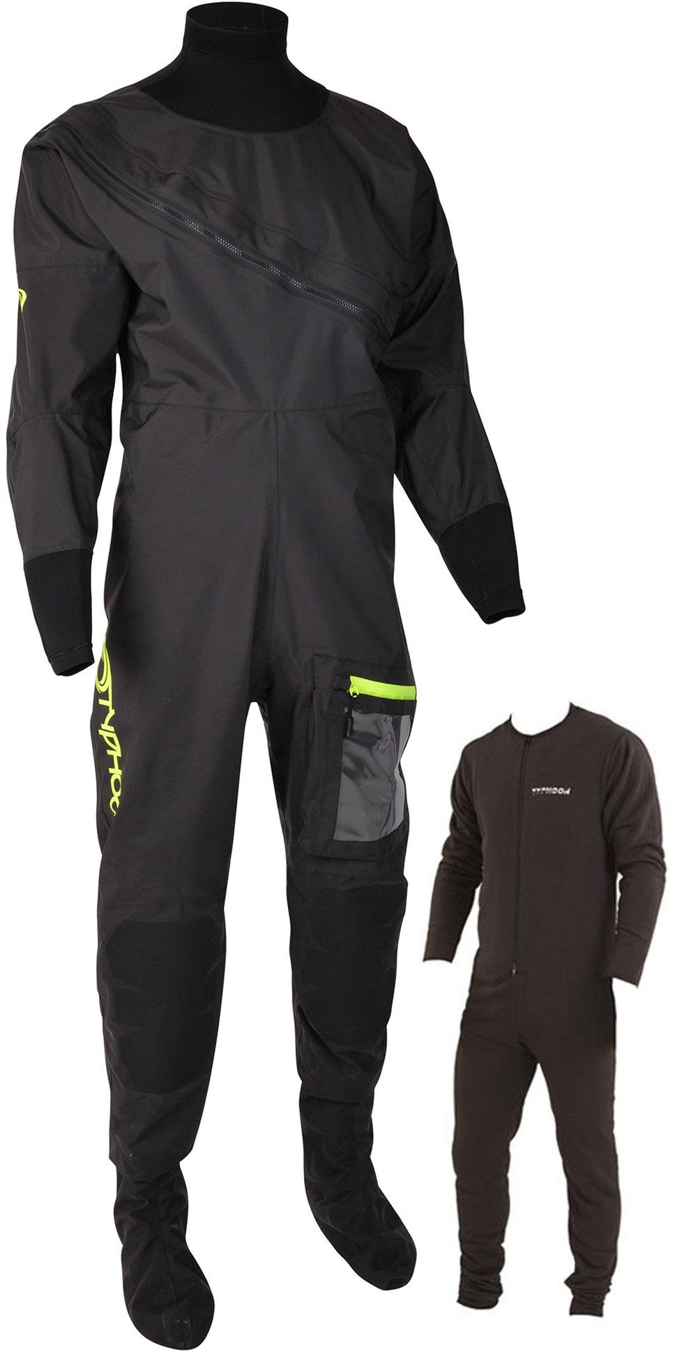 2019 Typhoon Mens Ezeedon 4 Front Zip Drysuit & Free Underfleece 100174 - Black