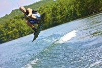 Wakeboarder catching air
