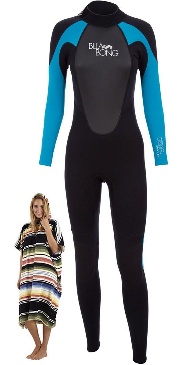 2018 Billabong Ladies Launch Wetsuit 5/4/3mm Turquoise & Salty Hooded Towel
