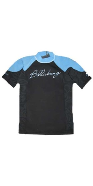 Billabong Ladies Split S/S 1mm Neo Top in Black / Pacific Blue V4EQ06