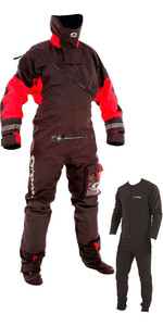 2019 Typhoon Max B Drysuit With Con Zip Inc Underfleece Black / Red 100168