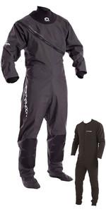 2020 Typhoon Ezeedon 3 Drysuit Front Zip + Fabric Socks & Underfleece Grey 100158