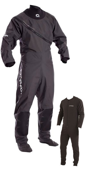 2018 Typhoon Ezeedon 3 Front Zip Drysuit Grey  Including Underfleece 100158