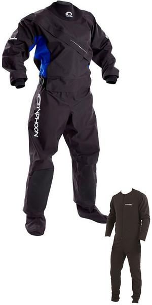 2019 Typhoon Womens Ezeedon 3 Drysuit Front Zip + Fabric Socks & Underfleece Black / Blue 100159