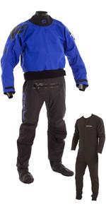 2020 Typhoon Multisport 5 Drysuit Latex Seal Fabric Socks + Con Zip Inc Underfleece BLUE / BLACK 100166