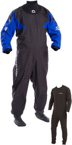 2019 Typhoon Hypercurve 4 Back Zip Drysuit with Socks & Underfleece Black / Blue 100169