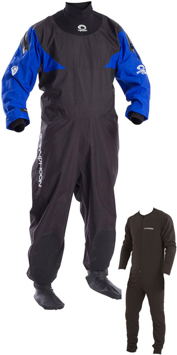 2020 Typhoon Hypercurve 4 Back Zip Drysuit & Underfleece Black / Blue 100169