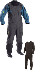 2020 Typhoon Hypercurve 4 Back Zip Drysuit with Socks & Underfleece Teal / Grey 100170
