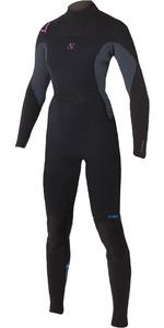 2019 Magic Marine Womens Brand 5/4mm Back Zip Wetsuit Black / Pink 160205