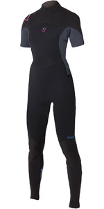 2019 Magic Marine Womens Brand 3/2mm Short Arm Back Zip Wetsuit Black / Pink 160210