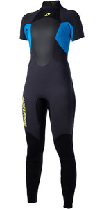 2019 Magic Marine Womens Ultimate 3/2mm Back Zip Short Arm Wetsuit Blue 170095