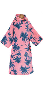 2020 TLS Surf Hooded Changing Robe / Poncho - Pink Palm