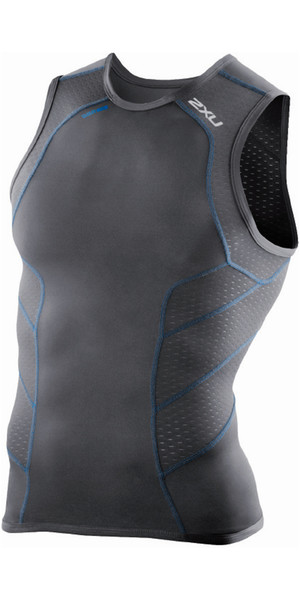 2XU Mens Perform Rear Zip Tri Singlet Ink / Cobalt Blue Detail MT3862A