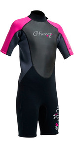 2021 Gul G-Force Junior Shorty 3/2mm Wetsuit in Black / Pink GF3308-A9