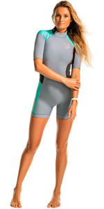 Rip Curl Womens Dawn Patrol 2mm Back Zip Spring Shorty Wetsuit Turquoise WSP4FW