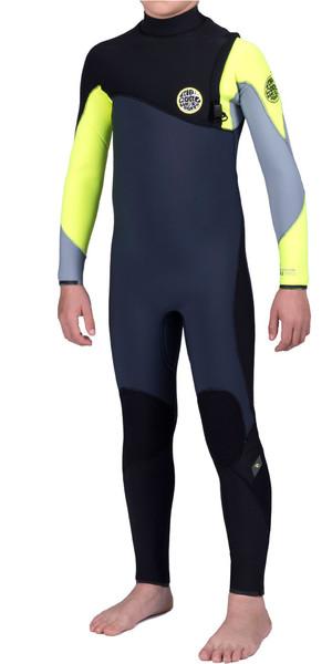 Rip Curl Junior Flash Bomb 4/3mm GBS Zip Free Wetsuit FLURO LEMON WSM6MB