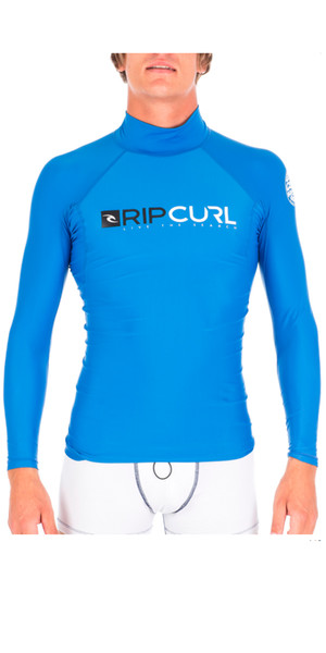 Rip Curl Shock Long Sleeve High-Collar Rash Vest in Blue WLE5MM