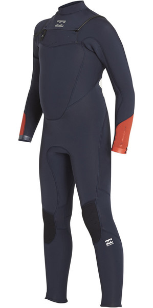 2018 Billabong Boys Absolute Comp 4/3mm Chest Zip Wetsuit SLATE BLUE F44B13
