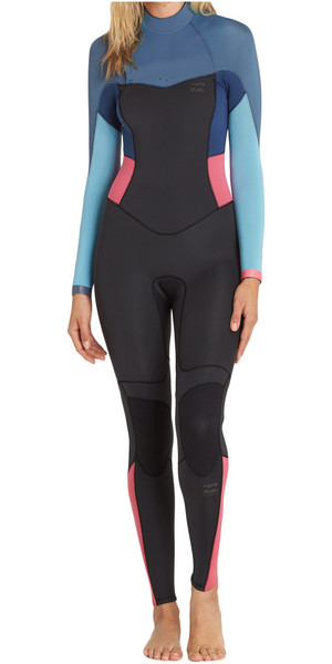 2018 Billabong Womens Synergy 4/3mm Back Zip Wetsuit AGAVE F44G12