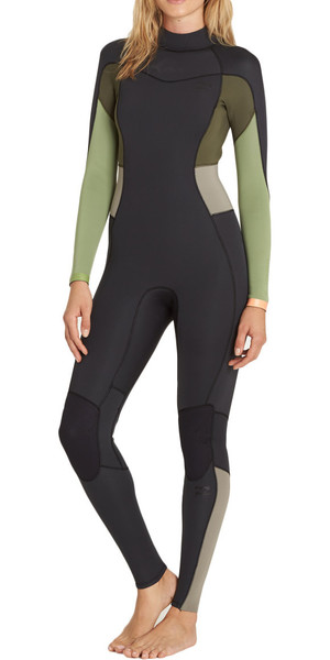 2018 Billabong Ladies Synergy 5/4mm Back Zip Wetsuit GREEN TEA F45G12
