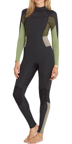 2018 Billabong Womens Synergy 4/3mm Back Zip Wetsuit GREEN TEA F44G12