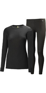 2020 Helly Hansen Womens COMFORT DRY 2-PACK Base Layer BLACK 48675