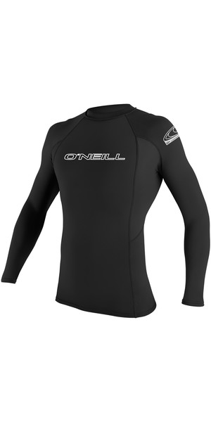 2018 O'Neill Basic Skins Long Sleeve Crew Rash Vest BLACK 3342