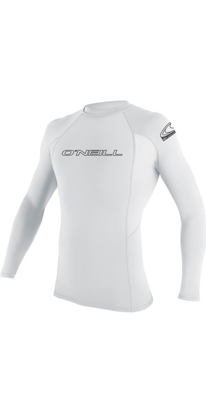 2019 O'Neill Basic Skins Long Sleeve Crew Rash Vest WHITE 3342