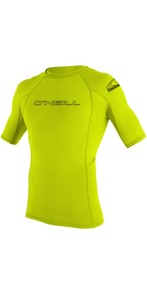 2018 O'Neill Basic Skins Short Sleeve Crew Rash Vest LIME 3341