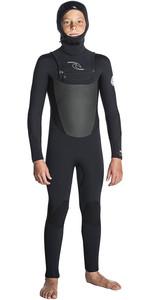 Rip Curl Junior Dawn Patrol 5/4 Chest Zip Hooded Wetsuit BLACK WSM7HB